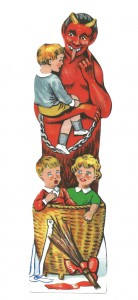 Früher hat der Krampus einen Bugglkorb und eine Kette mitgehabt und hat die bösen Kinder ermahnt und die ganz bösen einfach sofort mitgenommen.